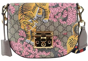 Gucci Bengal Bengal Gg Supreme Tiger Padlock Cross Body Bag
