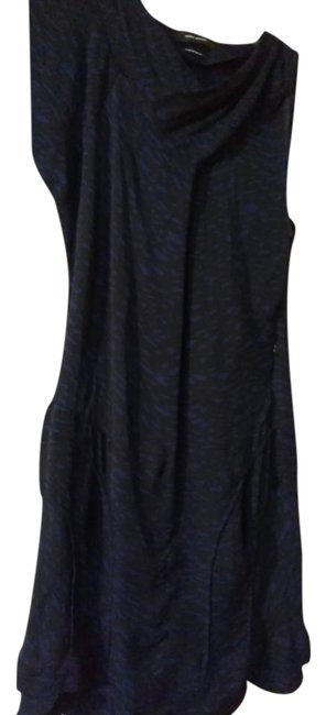 Item - Dark Blue Print Black Light Assymetric with Zipper and Piping Mid-length Cocktail Dress Size 6 (S)