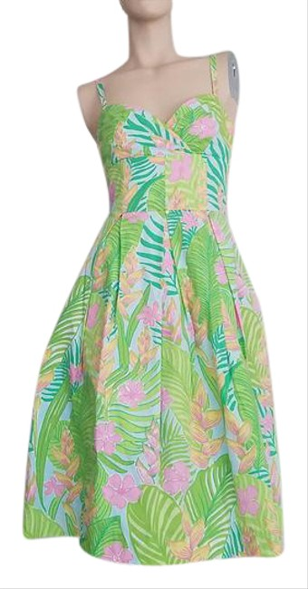Item - Multi Colored Green Pink Yellow White Sun Coloful Short Cocktail Dress Size 2 (XS)