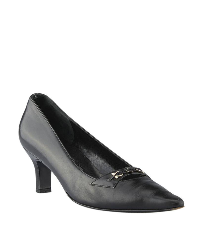 salvatore ferragamo link leather size 9 125053 black pumps pumps on sale. Black Bedroom Furniture Sets. Home Design Ideas