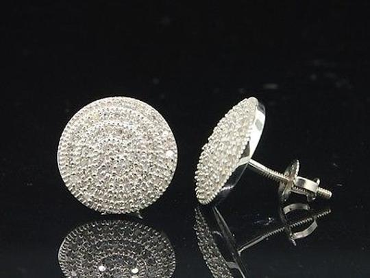Other Ladies,10k,White,Gold,Round,Cut,Designer,Pave,Diamond,Earrings,Studs,0.40,Ct.