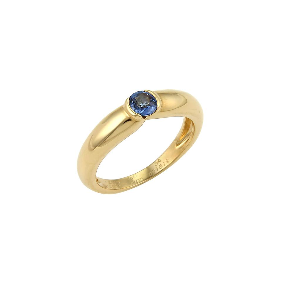 Cartier yellow gold blue sapphire 20494 semi bezel set 18k band cartier 20494 semi bezel set sapphire 18k yellow gold band ring size 54 altavistaventures Image collections