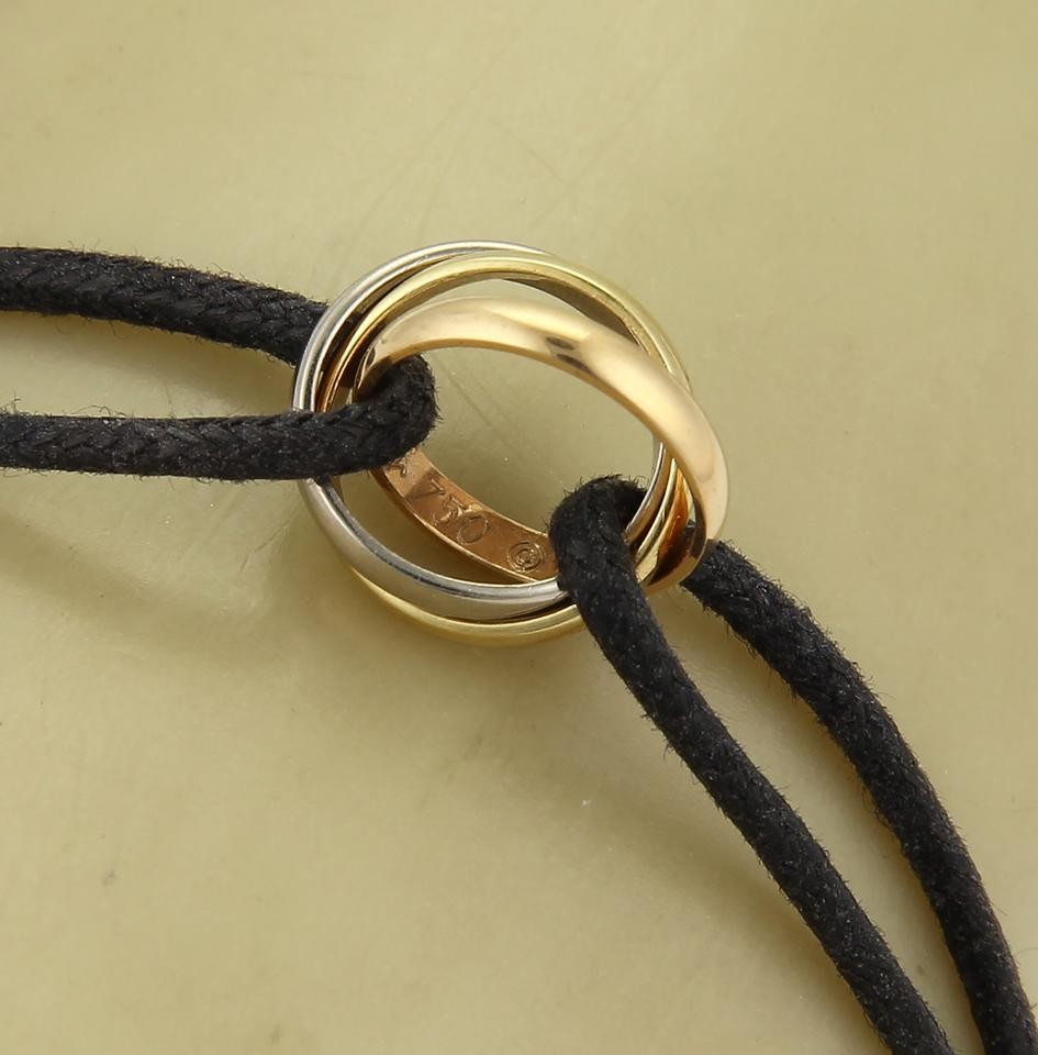 c55dfc58eec1f Cartier Rose Yellow & White Gold Black Cord 20403 - Trinity 18k Tri-color  Ring Charm Cert Bracelet