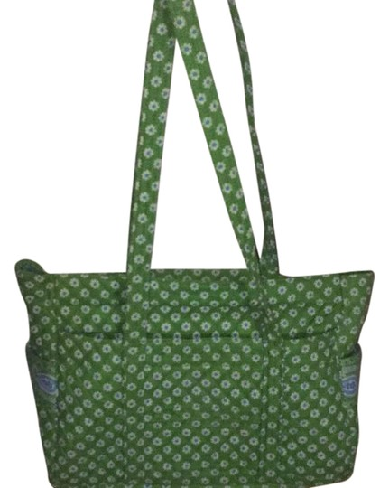 Vera Bradley Tote in Apple Green, blue and white