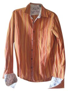 Kenneth Cole Floral Mens Button Down Shirt Orange and red stripes
