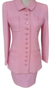 Chanel Authentic CHANEL Pink Tweed Jacket & Skirt 2pc Suit Size 36