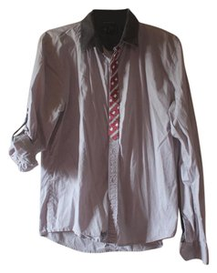 Buffalo David Bitton Tie Mens Button Down Shirt Grey