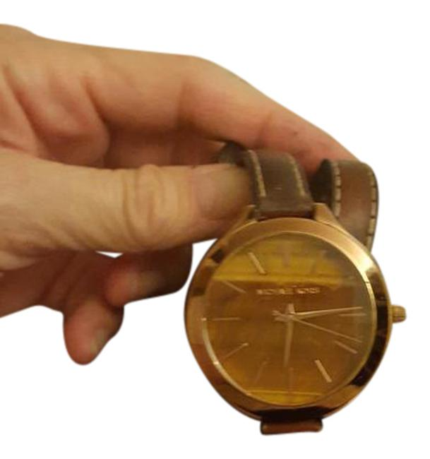 Item - Brown Rose Gold with Double-wrap Leather Band Watch