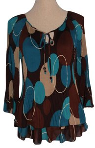 Signature by Larry Levine Top Brown, Blue and Tan