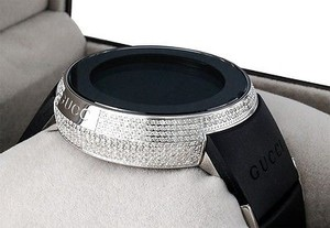 Gucci Diamond Gucci I-gucci Watch Mens Digital Ya114202 Black Rubber Band Ct.