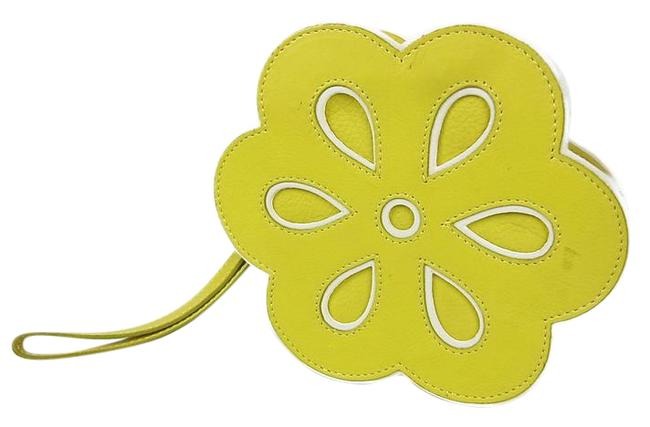 Item - Flower Floral Motif Pouch Yellow Leather Clutch