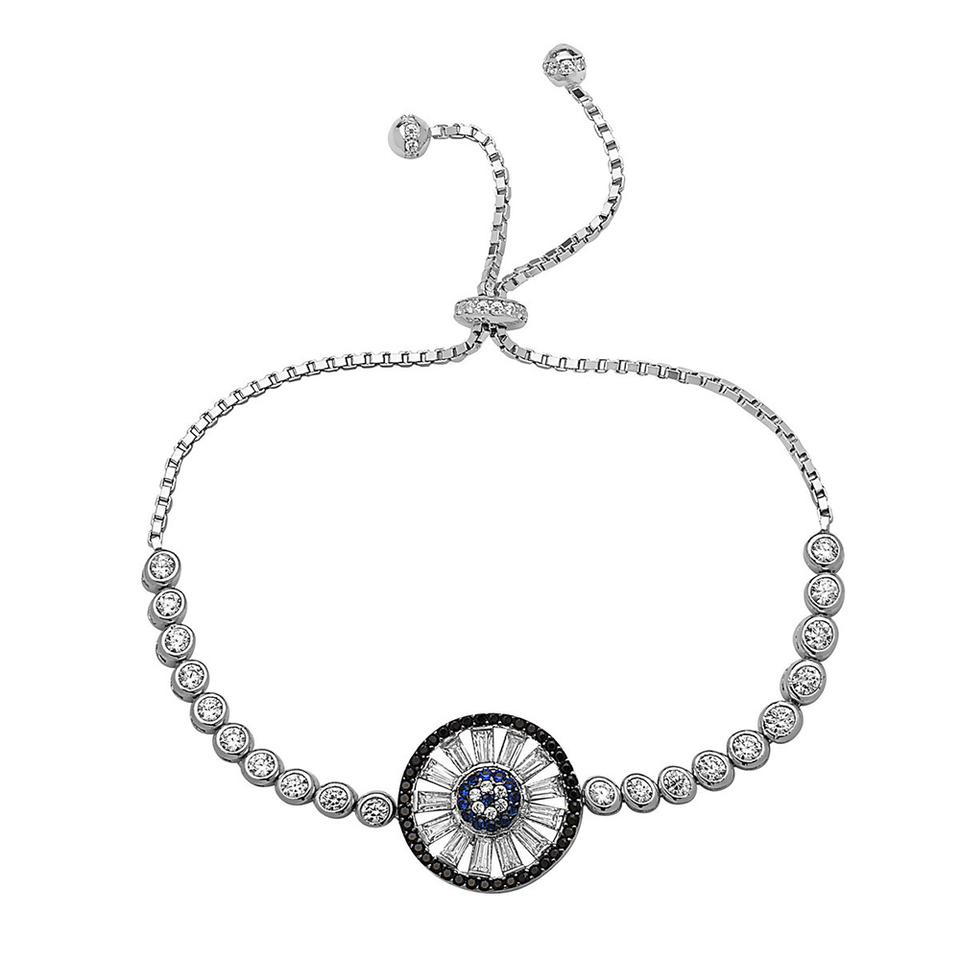 Crush Fancy 925 Sterling Silver Women S Evil Eye Crystal Bracelet