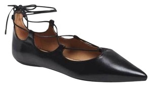 Topshop Strappy Cutaway Scalloped Black Flats