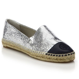 Tory Burch Silver and Black Flats