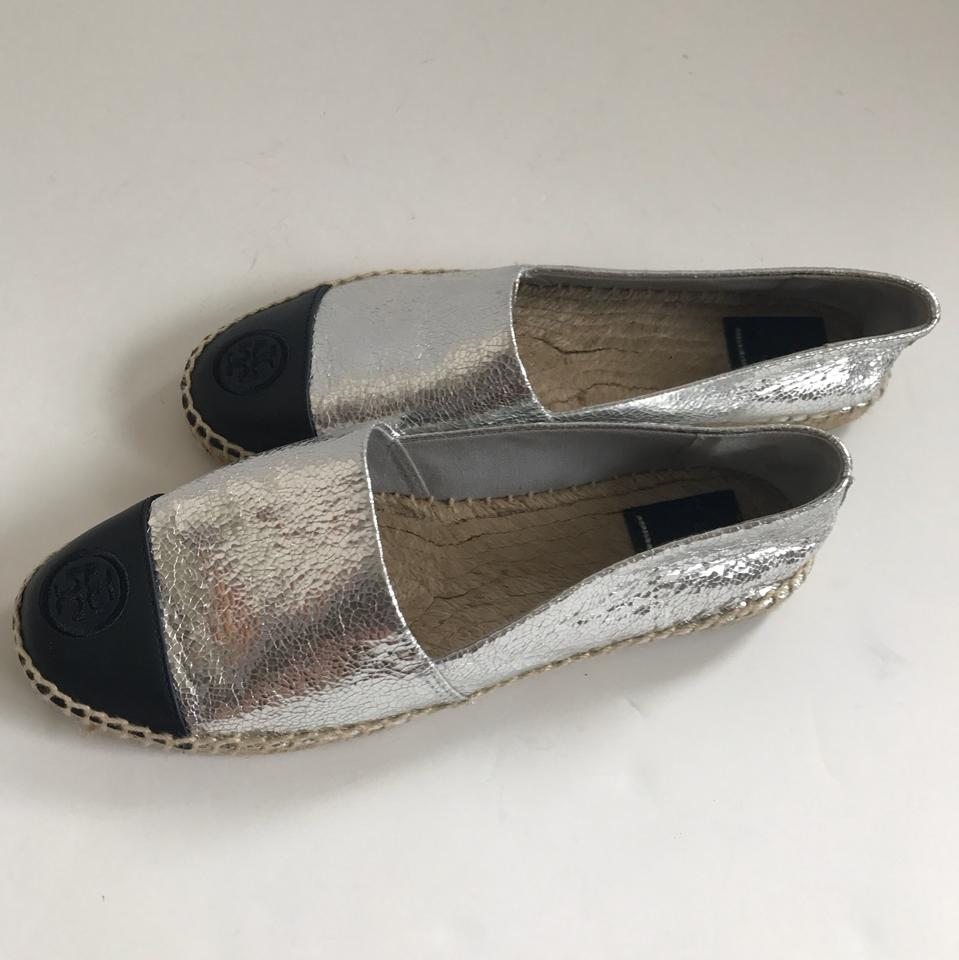 908ca5a9a Tory Burch Silver and Black Cracked Smooth Leather Espadrille Flats ...