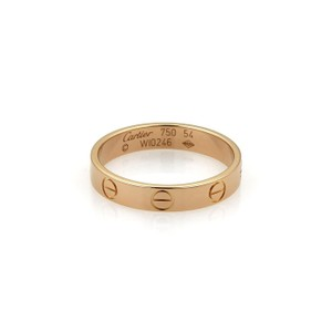 Cartier Mini Love 18k Rose Gold 3.5mm Ring Band Size EU 54-US 7