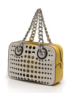 Prada Leather Italian Logo Perforated Shoulder Bag