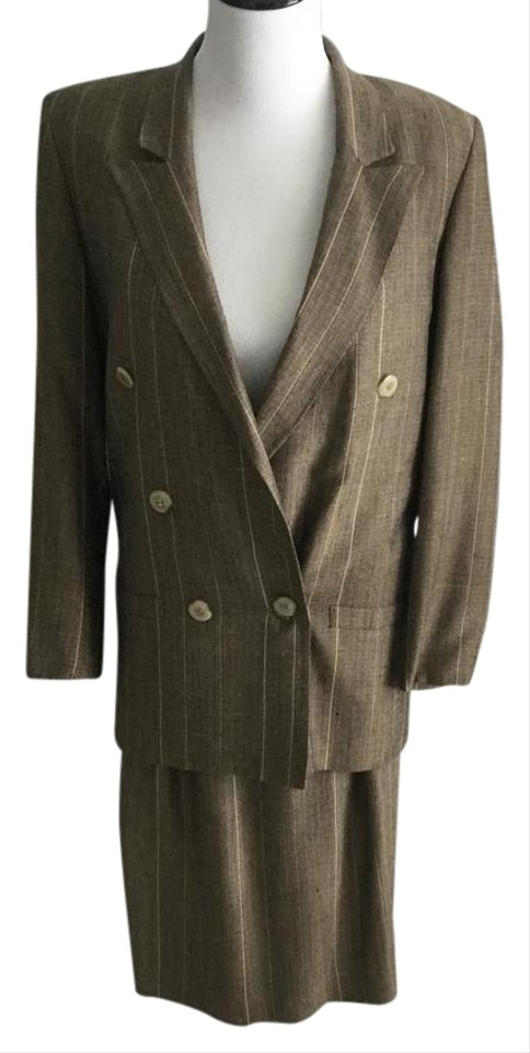 Tahari Black And Gold Tweed Pin Striped Women S Skirt Suit Size 6