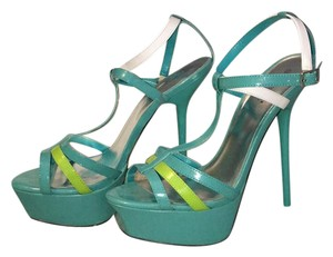 ShoeDazzle green blue Platforms
