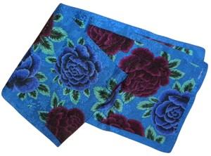 Albert Nipon Vintage Albert Nipon Royal Blue Silk Scarf Roses