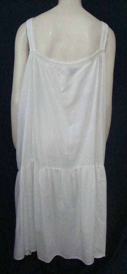 White Cotton Nightgown Mid-length Casual Maxi Dress Size 14 (L ...