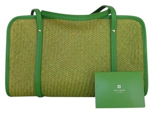 Kate Spade Vintage Leather Straw Summer Straw Satchel in Green