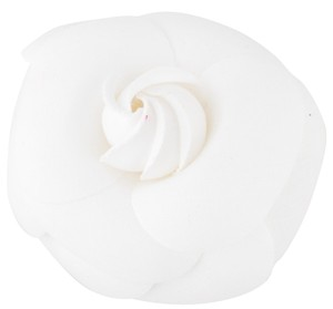 Chanel Gold-tone Chanel white floral Camellia brooch
