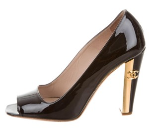 Chanel Peep Toe Patent Leather Gold Hardware Interlocking Cc Embellished Black, Gold Pumps