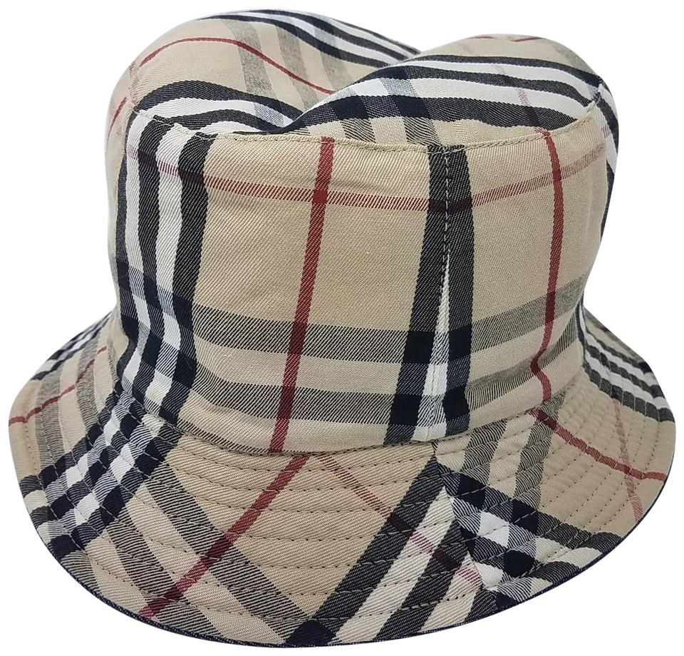 7115a22f84b Burberry Beige Blue Denim House Check Print Bucket Hat - Tradesy