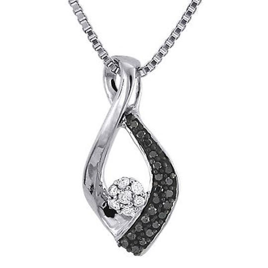 Jewelry For Less Black Diamond Infinity Loop Pendant 10k White Gold Necklace W Chain 0.12 Ct.