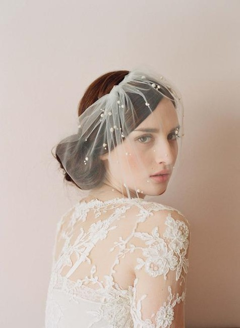 Item - Ivory Birdcage Mini Tulle with Pearls Bridal Veil