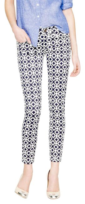 Item - White and Navy Toothpick In Geometric Print Capri/Cropped Jeans Size 27 (4, S)