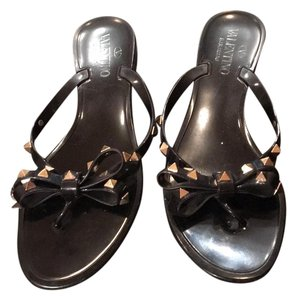 Valentino Rubber Studded Black Sandals