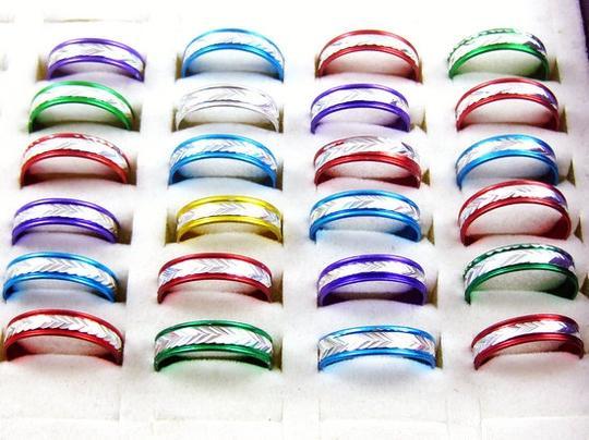 Colorful 3 Pieces Carved Designs Aluminum S Ring