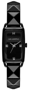 Karl Lagerfeld Karl Lagerfeld Women's Kourbe Black-tone Stainless Steel Pyramid Stud Bracelet Watch 30x20mm