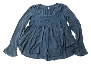 Free People Boho Smocked Bell Sleeve Festival High Low Top Green / Blue