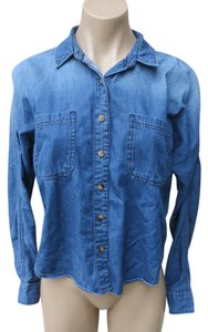 BDG Shirt Chambray Cotton Size Small Urban Outfitters Top Blue