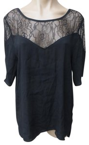 Urban Outfitters Staring At Stars Tunic Rayon Lace Cap Sleeve Top Black