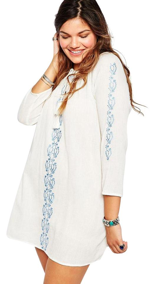 2213745cc5 ASOS White Diya Emboidered Cheesecloth Long Sleeve Gypsy Short Casual Dress  Size 16 (XL, Plus 0x)