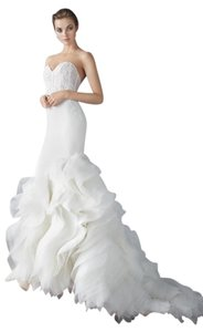 Lazaro Ivory Organza Crepe and Lace Trumpet Gown Formal Wedding Dress Size 4 (S)