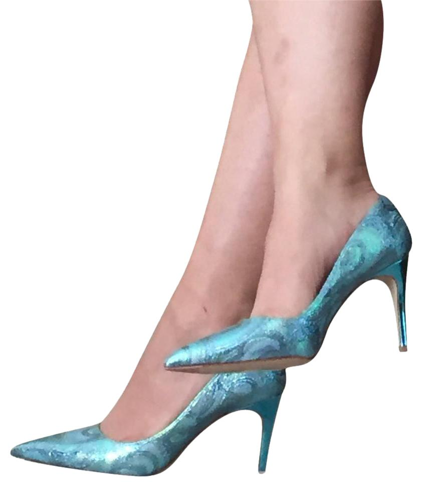 63192882f32 Miu Miu Metallic Blue Lurex Pointed Toe Heels 36.5 Pumps Size US 6.5 ...