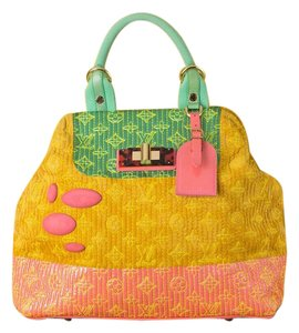 36092c3b49 Louis Vuitton Monogram Colorful Spring Summer Limited Edition Tote in Green  Yellow Pink
