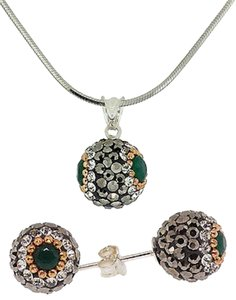 Jewels by Jacob 925 Sterling Silver Emerald Druzy With Cz Stud And Pendant - Drz06