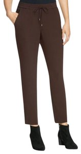 Eileen Fisher Silk Georgette Crepe Slouchy Ankle Relaxed Pants CLOVE
