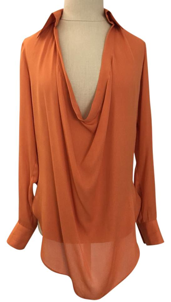 206331d95921f3 Haute Hippie Orange Silk Tunic Blouse Size 0 (XS) - Tradesy