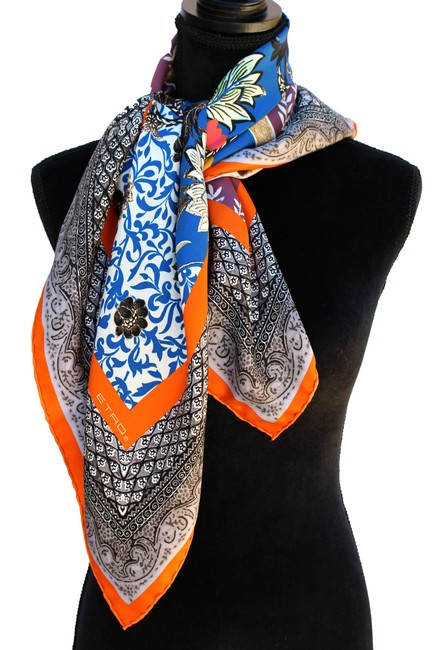 Item - Multi-color Square Silk New Floral Milano Italy Scarf/Wrap