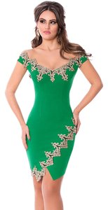 Lover short dress green red black Gold Sexy Bodycon Midi Floral on Tradesy