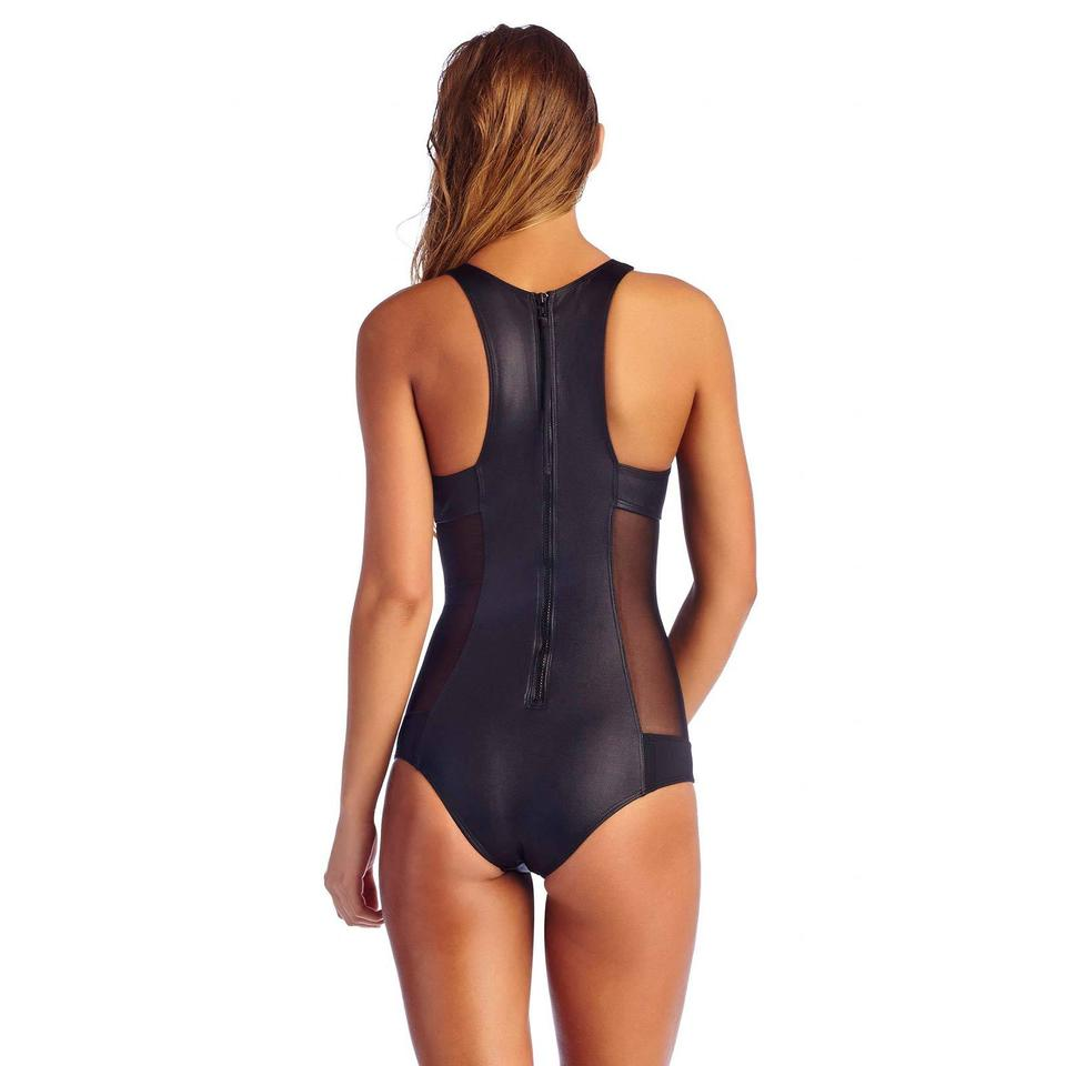 3b2a32acd35be Vitamin A Black Natasha Zip Maillot One-piece Bathing Suit Size 8 (M ...