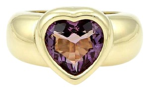 Piaget 18k Yellow Gold 3.50ct Heart Shape Amethyst Gemstone Solitaire Ring