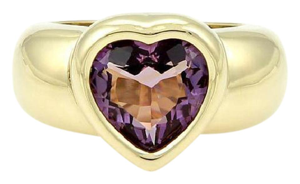 994c3e245 Piaget 18k Yellow Gold 3.50ct Heart Shape Amethyst Gemstone Solitaire Ring  Image 0 ...